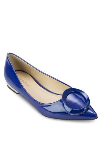 扣環漆面尖頭平底鞋zalora 包包 ptt, 女鞋, 芭蕾平底鞋
