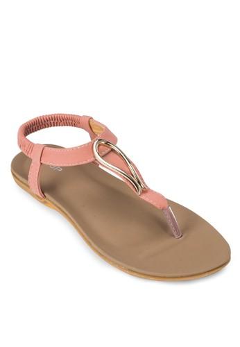 金屬飾zalora鞋T 字繞環涼鞋, 女鞋, 涼鞋