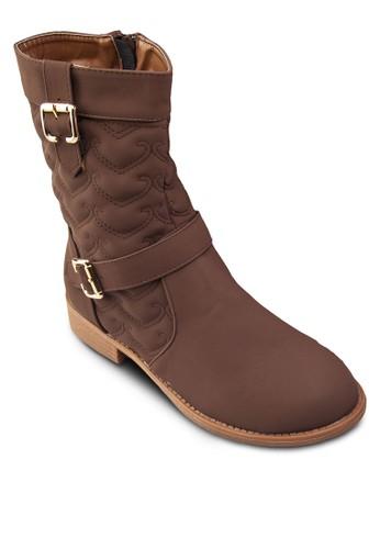 Lizzalora 折扣碼 扣環中筒靴, 女鞋, 鞋