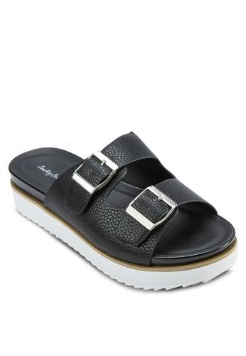 雙扣環帶厚底zalora鞋拖鞋, 女鞋, 鞋