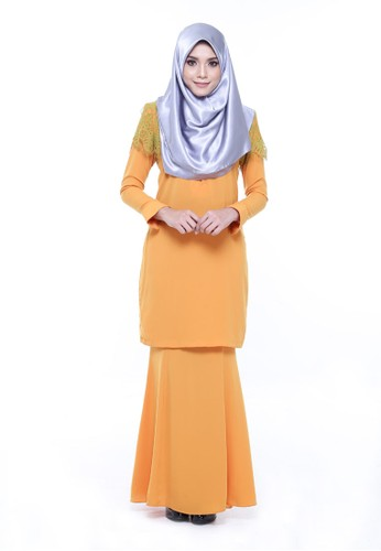 Kurung Rumi from AWNI in Orange and Green