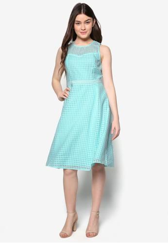 格紋薄紗zalora taiwan 時尚購物網鞋子拼接及膝洋裝, 服飾, 服飾