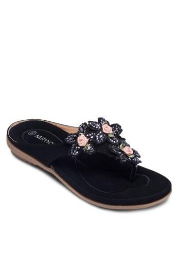 花飾T字帶涼鞋, 女zalora時尚購物網評價鞋, 涼鞋
