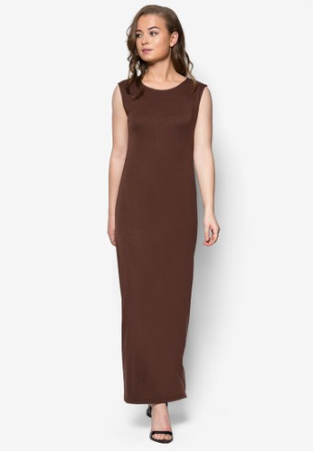 簡約無袖連身zalora 鞋評價長裙, 服飾, 洋裝