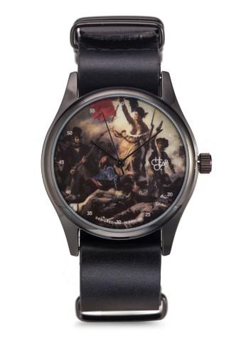 畫作圓框皮革錶, 錶類, zalora時尚購物網的koumi koumi飾品配件
