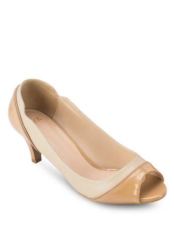 雙色露趾淑女鞋zalora鞋子評價, 女鞋, 魚口鞋
