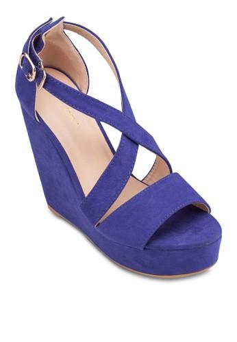 交叉繞踝厚底楔形鞋,zalora 台灣 女鞋, 鞋