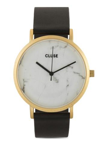La zalora 包包評價Roche 大理石真皮圓錶, 錶類, 皮革錶帶