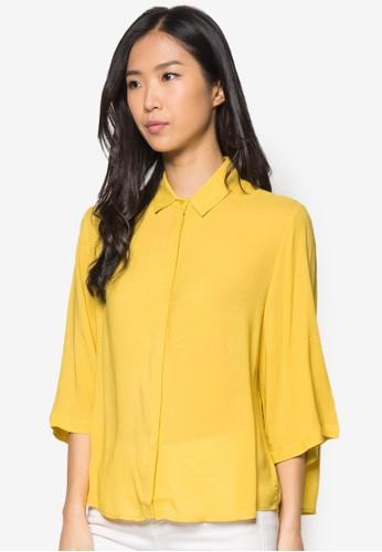 暗紋長mango taiwan門市袖上衣, 服飾, 服飾