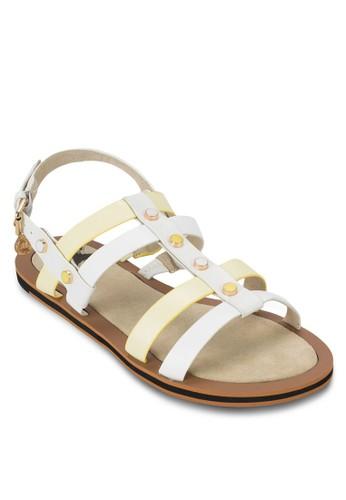 雙色鉚釘繞踝涼鞋, 女鞋,zalora 包包 ptt 鞋