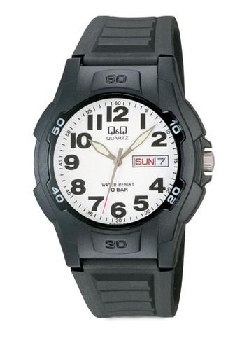 Q&Qzalora鞋 撞色日期指針手錶, 錶類, 其它錶帶
