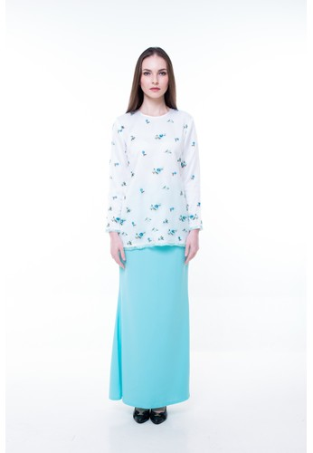 Sofya Kurung from Orked in White and Blue