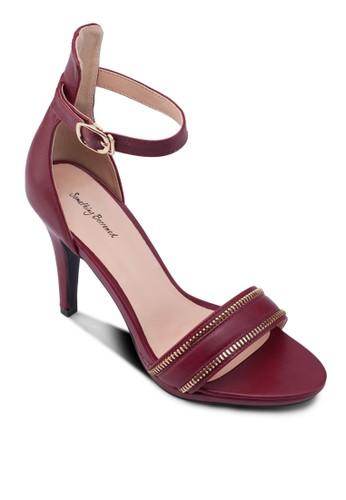拉鍊一字帶高跟涼鞋, 女zalora退貨鞋, 鞋