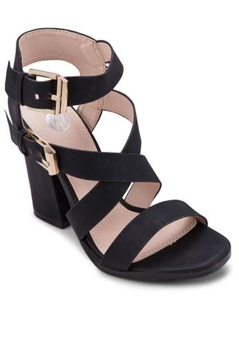 雙扣環zalora taiwan 時尚購物網多帶粗跟涼鞋, 女鞋, 鞋