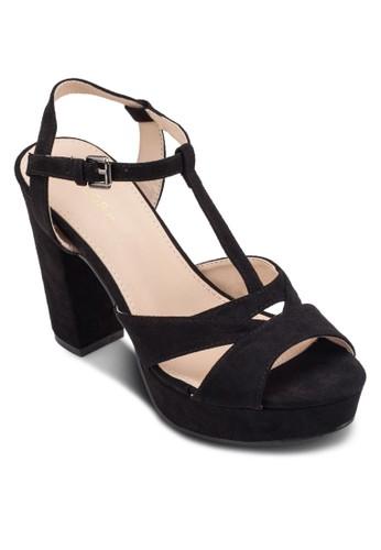 鏤空T 字帶厚底高跟鞋, 女鞋, 厚zalora 鞋評價底鞋