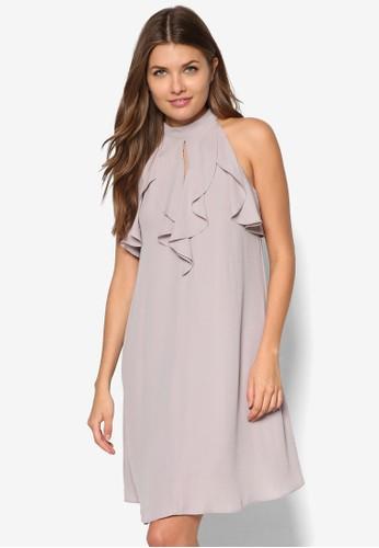 垂zalora 心得墜荷葉領飾連身裙, 服飾, 短洋裝