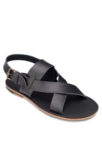 交叉寬帶繞踝涼鞋zalora 台灣, 鞋, 拖鞋