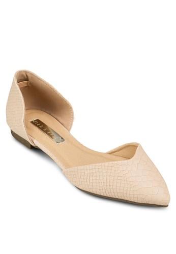 Demi 蛇紋zalora開箱側空尖頭平底鞋, 女鞋, 鞋