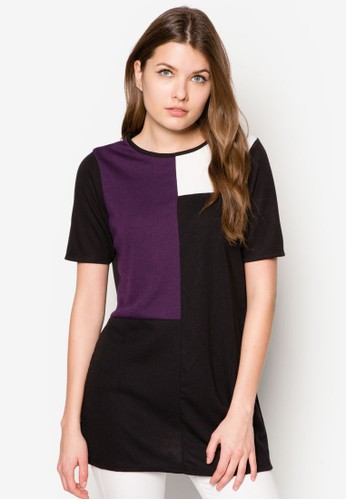 Blzalora鞋ack And Purple Colour Block Tunic, 服飾, 上衣