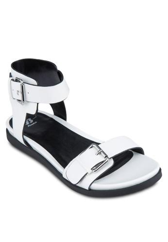 扣環寬帶zalora開箱繞踝涼鞋, 女鞋, 涼鞋