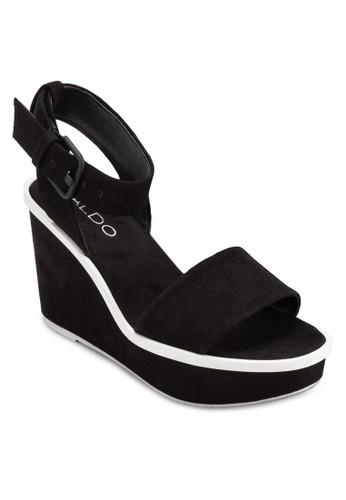 Maygan 寬帶繞踝楔型跟鞋, 女鞋, 楔形涼zalora退貨鞋