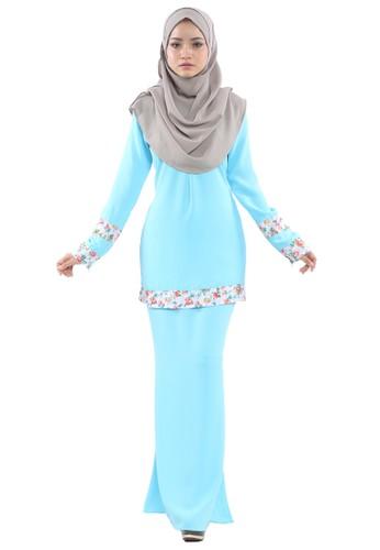 Inaya Baju Kurung from Tulips & Thyme in Green and Blue