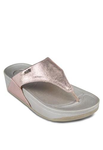 金屬感夾腳厚底涼鞋, 女鞋zalora 台灣, 涼鞋