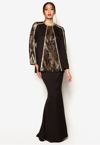 ArtDeco Acacia Baju Kurung from Jovian Mandagie for Zalora in Black