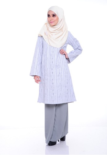 Orkid Kurung Moden - Grey from Aireen in Grey