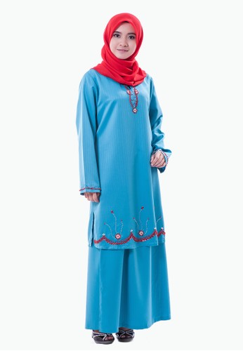Rasa Sayang Hadeeba EmbroideRed Baju Kurung – Aqua Blue from Rasa Sayang in Blue