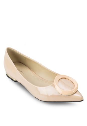 扣環漆面尖頭平底鞋, zalora 心得女鞋, 芭蕾平底鞋