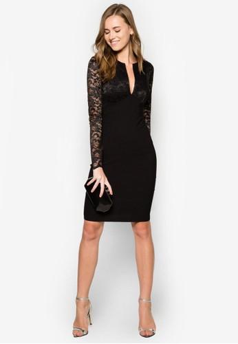 蕾絲長袖貼身洋裝, zalora 鞋評價服飾, 洋裝