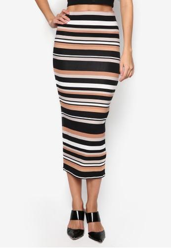 多色條紋鉛zalora鞋筆裙, 服飾, 及膝裙