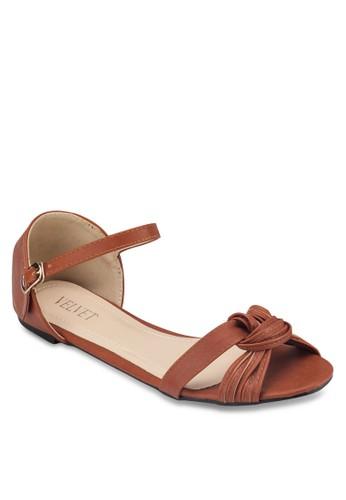Dolly 扭結繞踝平底涼zalora taiwan 時尚購物網鞋子鞋, 女鞋, 涼鞋