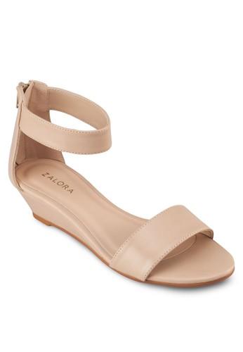 一字帶繞踝楔形鞋zalora 台灣, 女鞋, 楔形涼鞋
