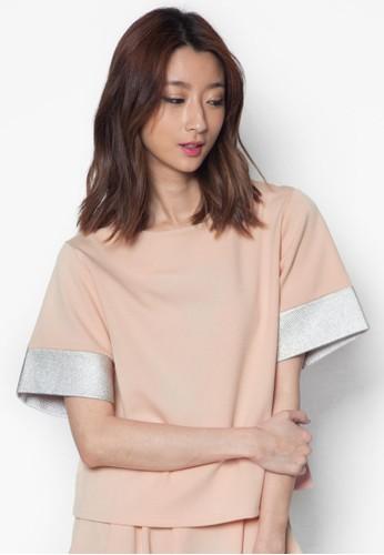 亮面色塊拼袖zalora 衣服評價上衣, 服飾, 服飾