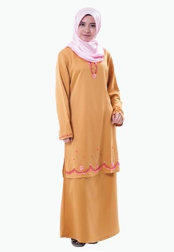Rasa Sayang Hadeeba EmbroideRed Baju Kurung – Light Brown from Rasa Sayang in Brown