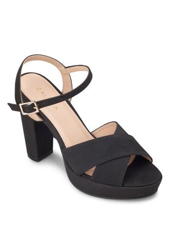 交叉寬帶繞zalora 評價踝粗高跟鞋, 女鞋, 厚底鞋