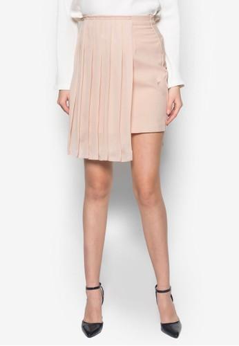 Geraldine 側褶飾短裙, zalora 包包 ptt服飾, 迷你裙