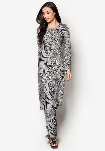 Rita Mermaid Mini Kurung from Zuco Fashion in Black and White