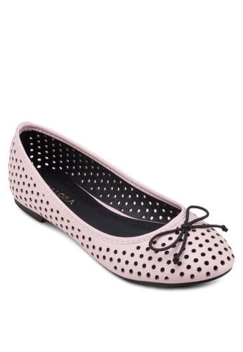 沖孔蝴蝶結平底鞋, 女鞋zalora 折扣碼, 芭蕾平底鞋
