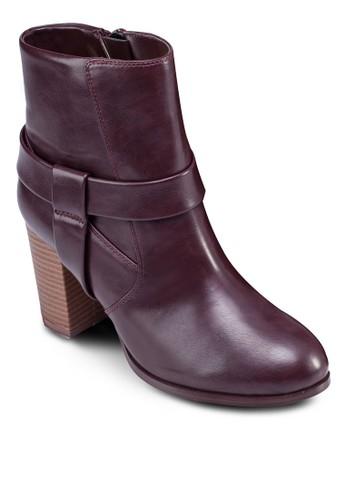 仿皮粗跟低zalora 心得筒踝靴, 女鞋, 鞋