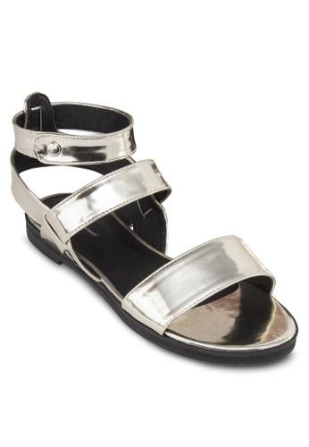 亮面寬zalora 台灣帶繞踝涼鞋, 女鞋, 涼鞋