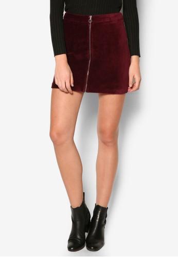 拉鍊棉質短裙,zalora 包包評價 服飾, 服飾