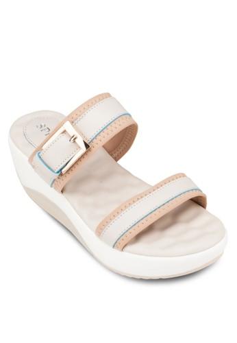 雙寬帶厚底涼鞋, 女鞋, zalora 心得楔形涼鞋