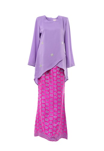 Women's Kurung Moden Dokoh Patch Light Purple from MOTHER & CHILD in Purple