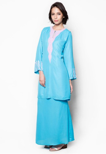 Embellished Baju Kurung from Aqeela Muslimah Wear in Blue