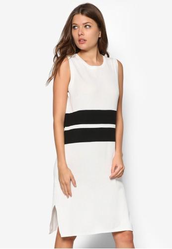 撞色條紋無袖連zalora 鞋評價身裙, 服飾, 夏日洋裝