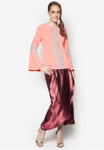 Cattleya Modern Lace Kurung from ARDA PUTRA in Pink