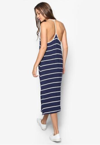 條紋側開衩挖背連身長裙, 韓mango門市營業時間系時尚, 梳妝